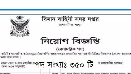 Photo of Air force headquarters published a Job Circular