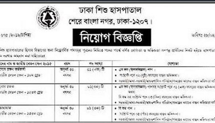 Photo of Dhaka Shishu Hospital Job Circular 2021