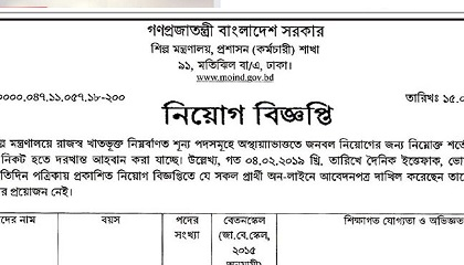 Photo of Ministry of Industries published a Job Circular.