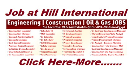 Photo of Job Vacancies at Hill International | UAE-Saudi Arabia-Qatar-USA-UK-India