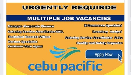 Photo of 100+vacancies Cebu Pacific Careers & Staff Recruitment