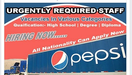 Photo of MANY JOB VACANCIES AT PEPSICO