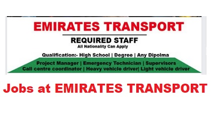 Photo of EMIRATES TRANSPORT – UAE GOVT JOBS 2019