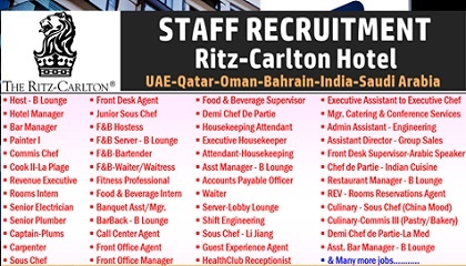 Photo of The Ritz-Carlton Hotel Luxury Hotels Jobs | UAE-KSA-Qatar-Oman-Bahrain-India