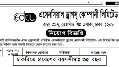 Photo of Essential Drugs Company Limited (EDCL) Job Circular