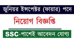 Junior Inspector (Fire) Job Circular